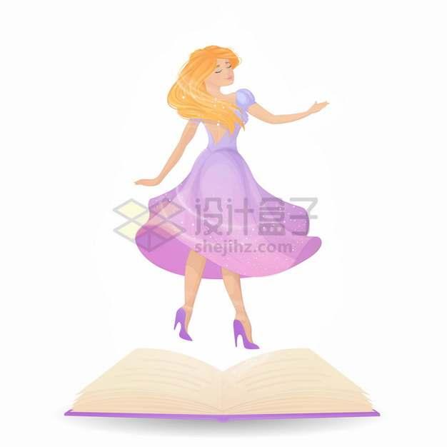 打开的书本魔法书上的美丽公主卡通女孩png图片素材