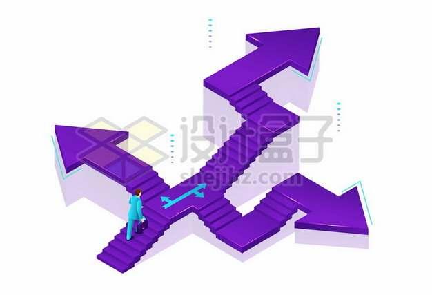 不同方向箭头的阶梯象征了不同的选择和线路573131免抠矢量图片素材