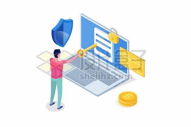 笔记本电脑密码安全信用卡安全扁平插画878067免抠矢量图片素材