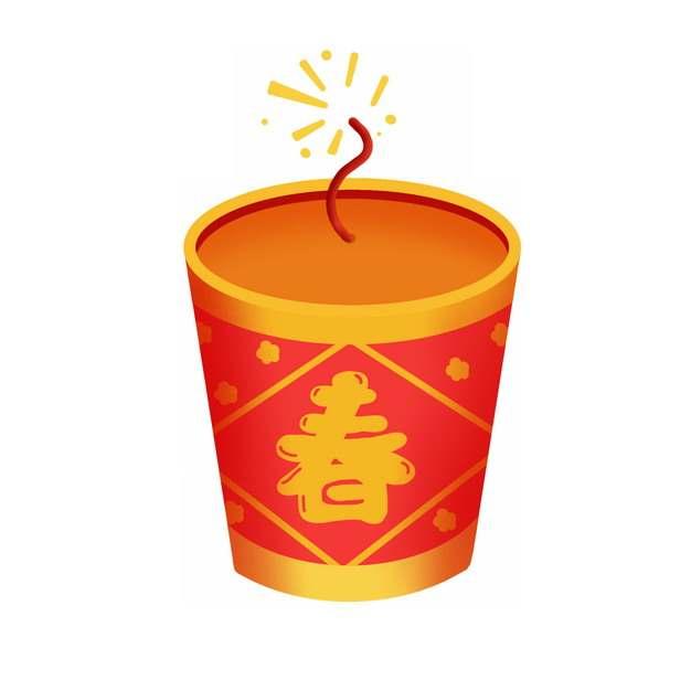 春节新年红色的卡通炮仗鞭炮插画957891png图片免抠素材