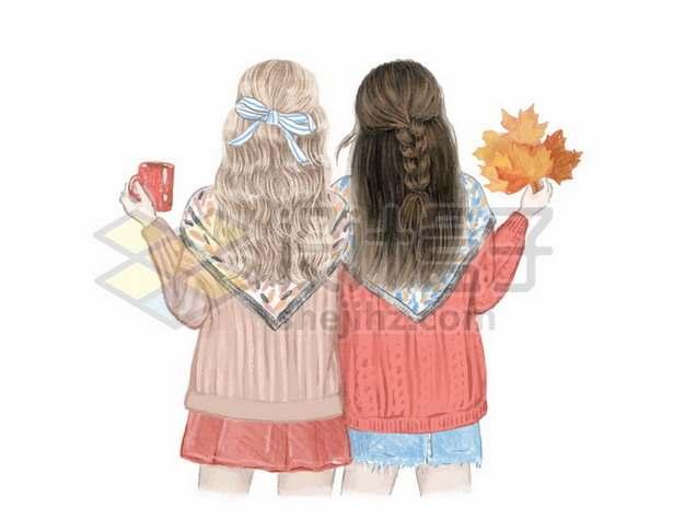 秋天里穿着毛线衣的两个女孩子闺蜜好朋友背影202423矢量图片免抠素材