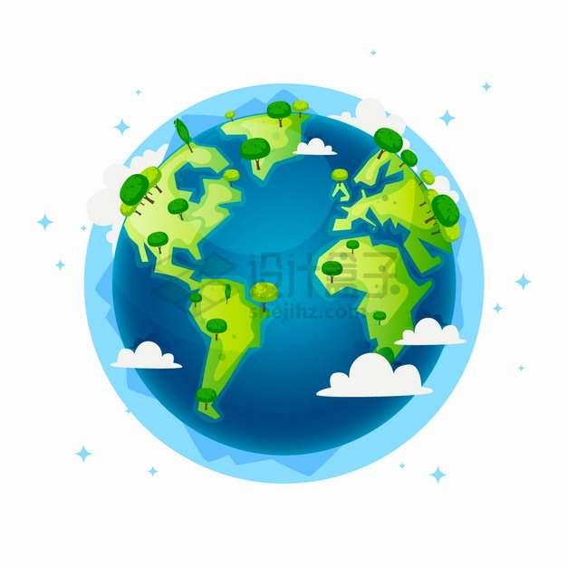 蓝色海洋绿色大地的卡通地球模型上长着大树保护地球环境主题插画png图片素材