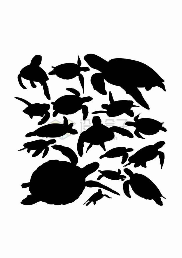绿海龟海洋动物剪影合集png图片素材