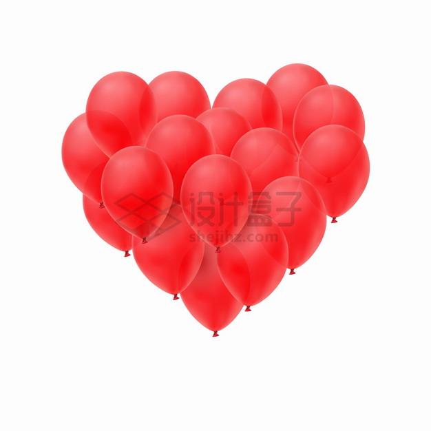 很多红色气球组成了心形图案png图片素材 漂浮元素-第1张