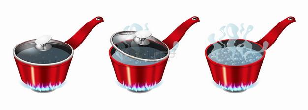 3款红色汤锅在煤气灶上烧水开水厨房用具png图片素材 生活素材-第1张