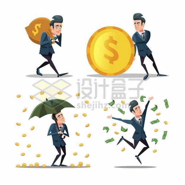 卡通老板背着钱袋子下金币雨和撒钱效果267353png矢量图片素材