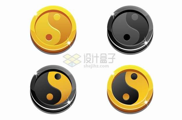 金色和黑色光泽太极阴阳图圆形按钮金币png图片素材