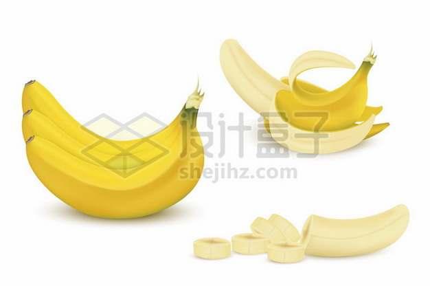 完整和剥皮的香蕉以及切片的香蕉436255矢量图片免抠素材