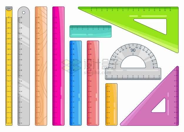 各种彩色直尺三角尺量角器等测量工具几何学习用品png图片素材