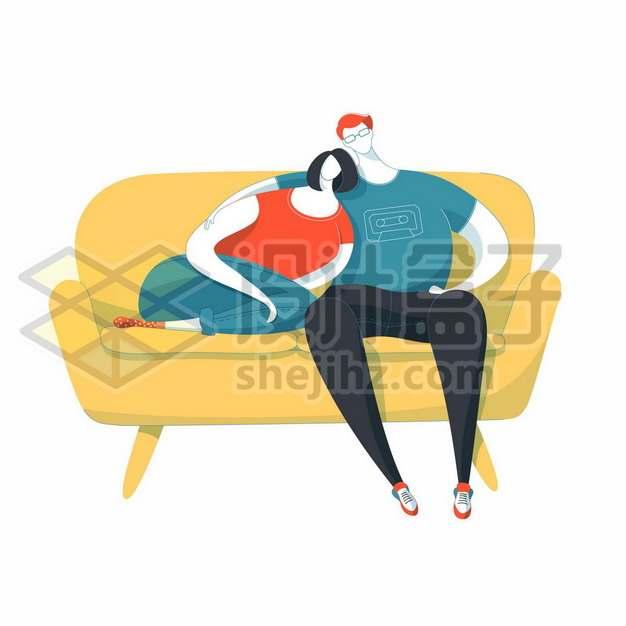 偎依在一起靠在沙发上的卡通情侣手绘插画579638背景图片素材