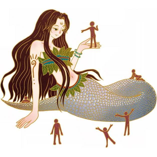 女娲造人的神话传说手绘插画902030png图片免抠素材