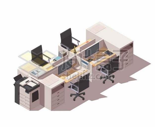 3D风格公司办公室的卡位隔断办公桌605969免抠矢量图片素材