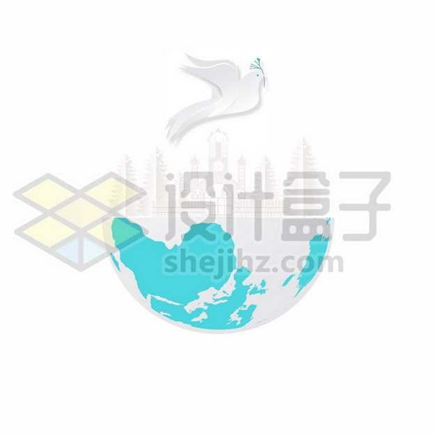 白色剪纸风格鸽子白鸽和平鸽和地球700977免抠矢量图片素材