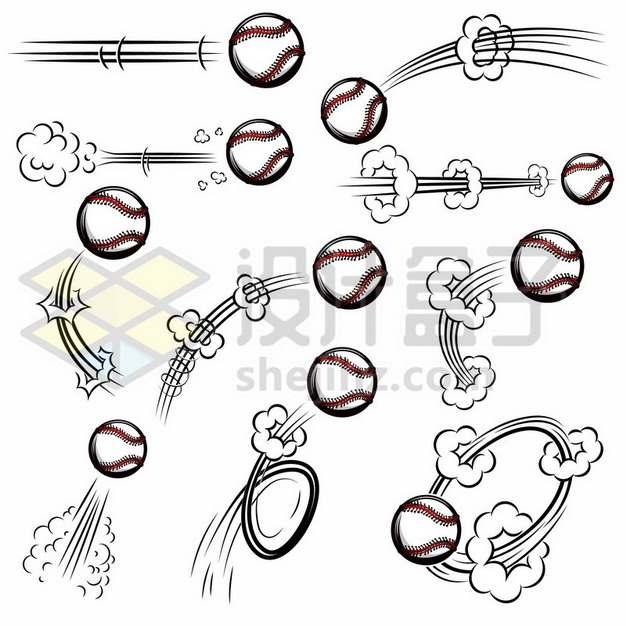 各种飞行中的网球漫画插画758231免抠矢量图片素材