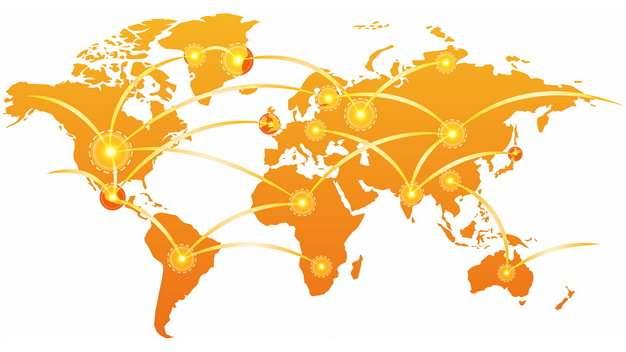 橙色世界地图和发光辐射线连接世界563279png图片免抠素材
