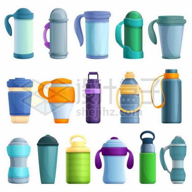 16款卡通运动水壶塑料水杯801002png矢量图片素材