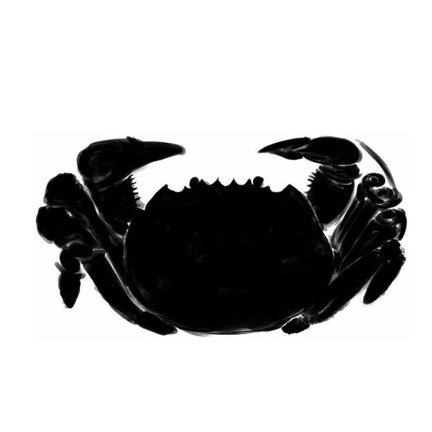 黑色手绘大闸蟹螃蟹918657png图片免抠素材