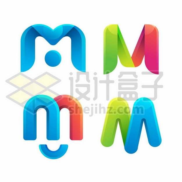 4款创意M字母LOGO设计元素182895免抠矢量图片素材
