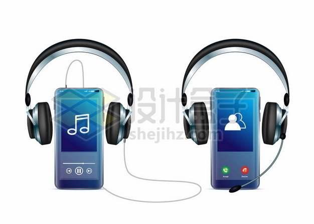 手机听音乐和接电话的头戴式耳机耳麦806337矢量图片免抠素材