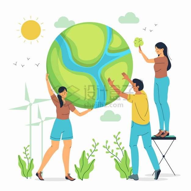 年轻人托着绿色的卡通地球保护地球主题插画png图片素材