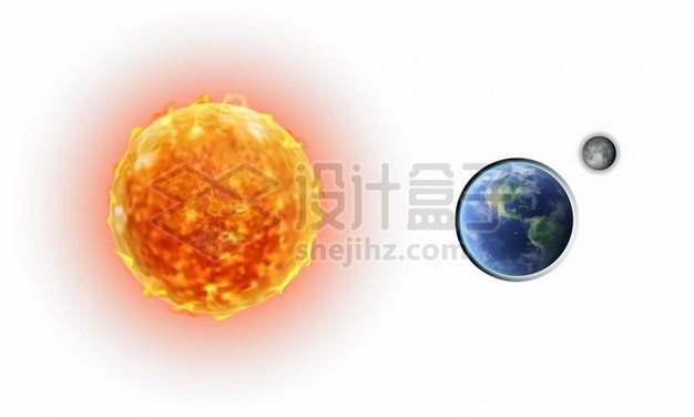 大火球太阳和地球月亮311101矢量图片免抠素材