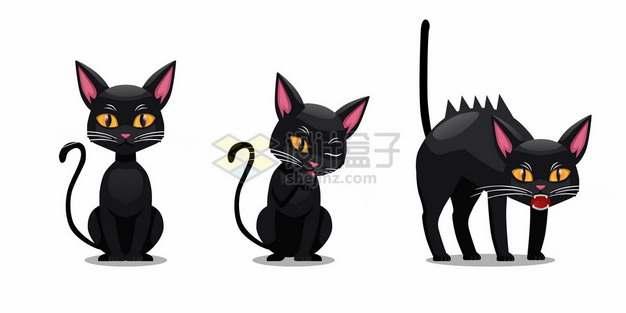 三个表情的卡通黑猫354347png矢量图片素材
