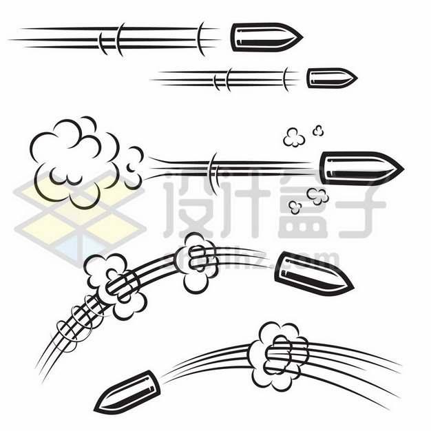 各种飞行中的子弹漫画插画422964免抠矢量图片素材