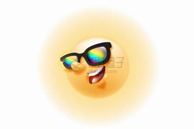 戴着彩色眼镜的卡通黄色太阳png图片素材