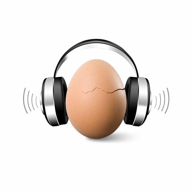 裂开的鸡蛋戴着耳机和声波731447png图片免抠素材