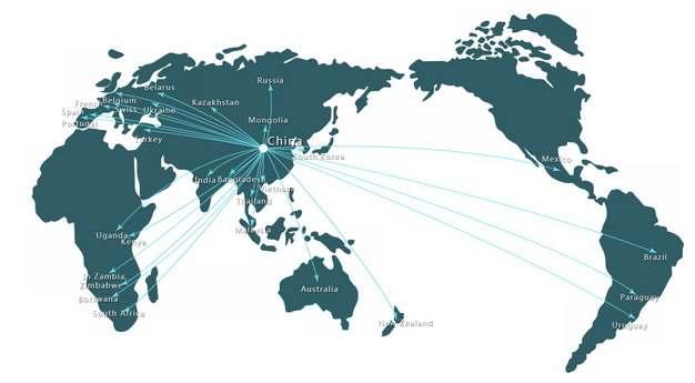 世界地图和中国辐射线795326png图片免抠素材