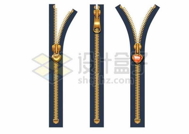 3款金属拉链装饰625502矢量图片免抠素材