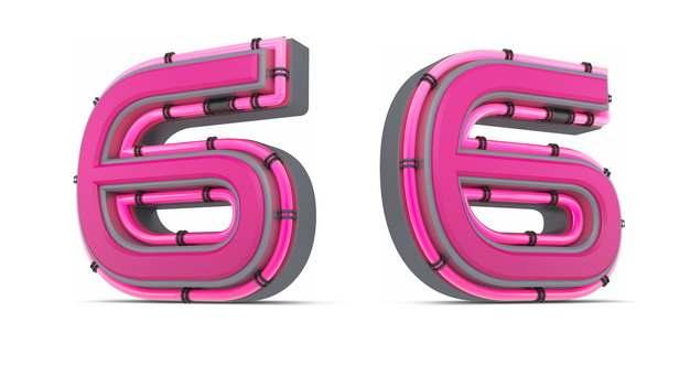 C4D风格粉红色3D立体数字六6艺术字体994873免抠图片素材
