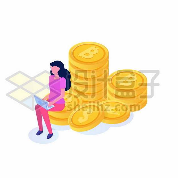 美女坐在金币上扁平插画419362免抠矢量图片素材