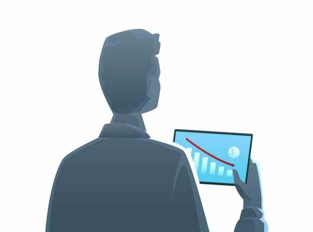 商务人士用平板电脑查看增长数据背影838241AI矢量图片素材