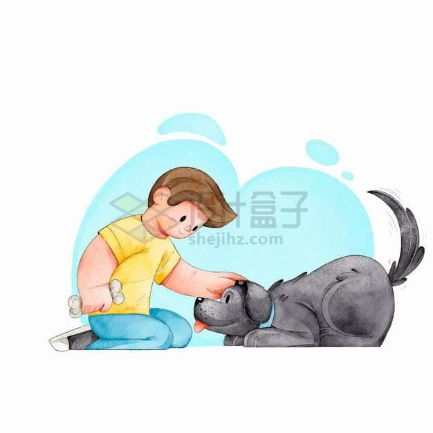 逗狗的男孩和狗狗玩耍宠物彩绘插画png图片素材