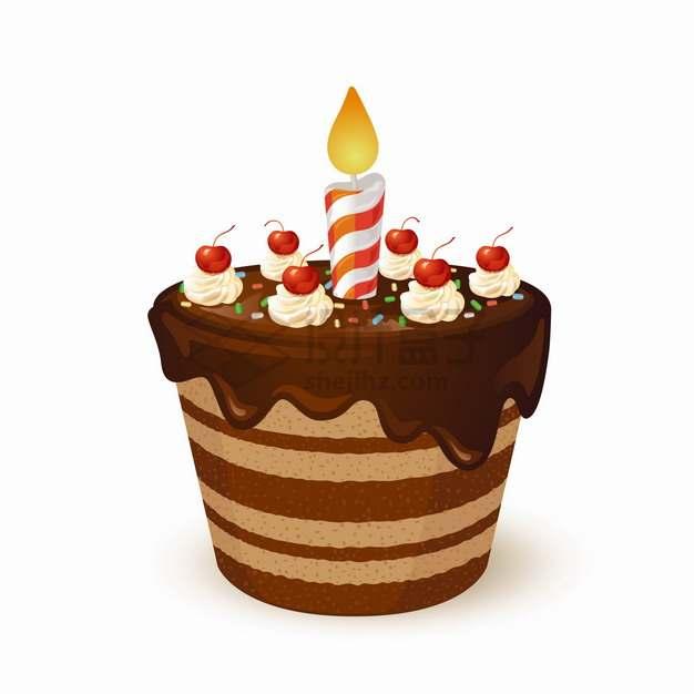 巧克力蛋糕点了蜡烛的生日小蛋糕png图片素材