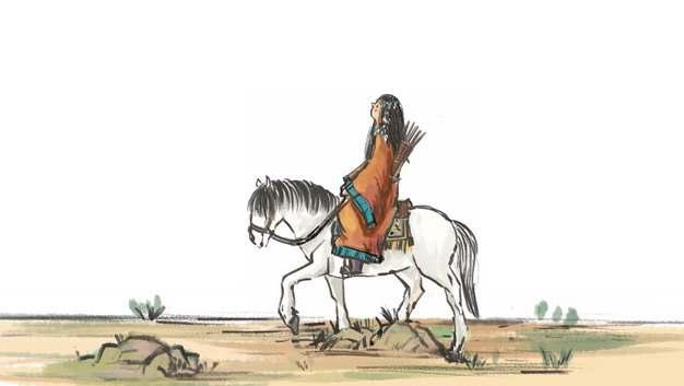 古道西风瘦马骑马的古人水墨画手绘插画521841png图片免抠素材