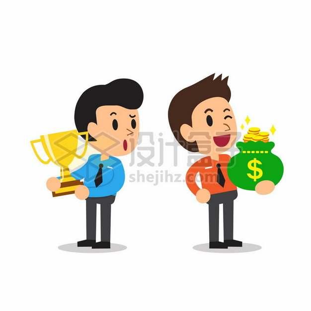 荣誉和金钱谁更重要卡通男人获得奖杯和金钱219193png矢量图片素材