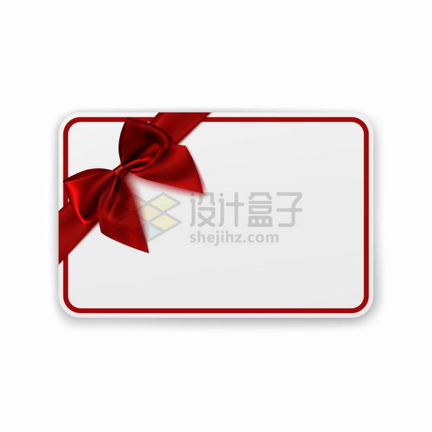 红色线条圆角边框一角有一个红色丝绸蝴蝶结png图片素材 边框纹理-第1张