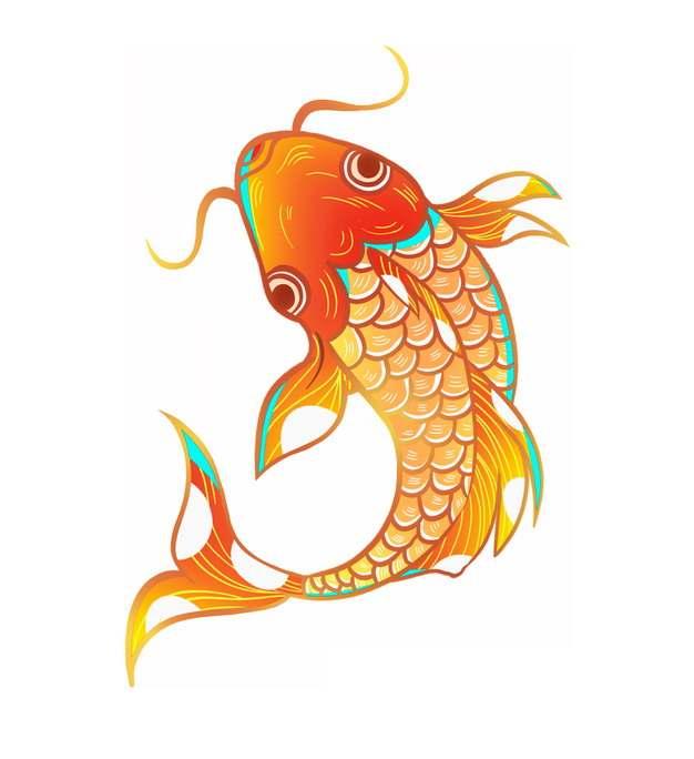 红色金色鲤鱼锦鲤插画946415png图片免抠素材