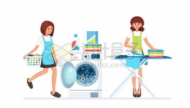 卡通家庭主妇使用洗衣机洗衣服和用熨斗烫衣服619920矢量图片免抠素材