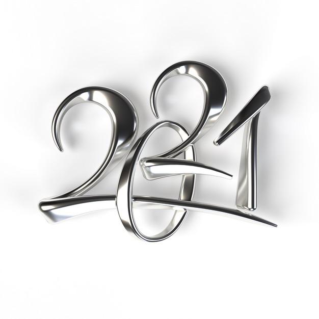 银色金属色2021年立体字体560833免抠图片素材 字体素材-第1张
