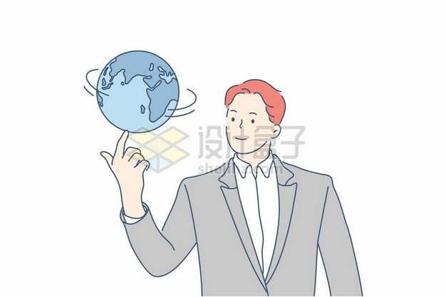 卡通商务人士转地球仪手绘插画168255png矢量图片素材