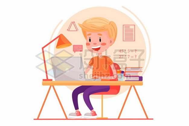 卡通学生坐在电脑面前学习989439矢量图片免抠素材