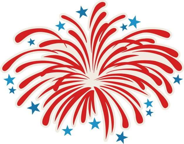 红色的烟花礼花和蓝色五角星装饰816740png图片素材