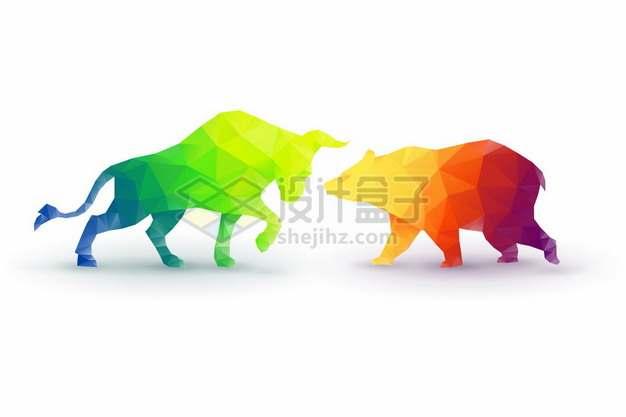 彩色多边形色块组成的股市牛市和熊市150756png矢量图片素材