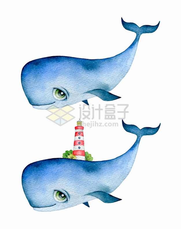抽象卡通鲸鱼和身上的灯塔彩绘插画png图片素材