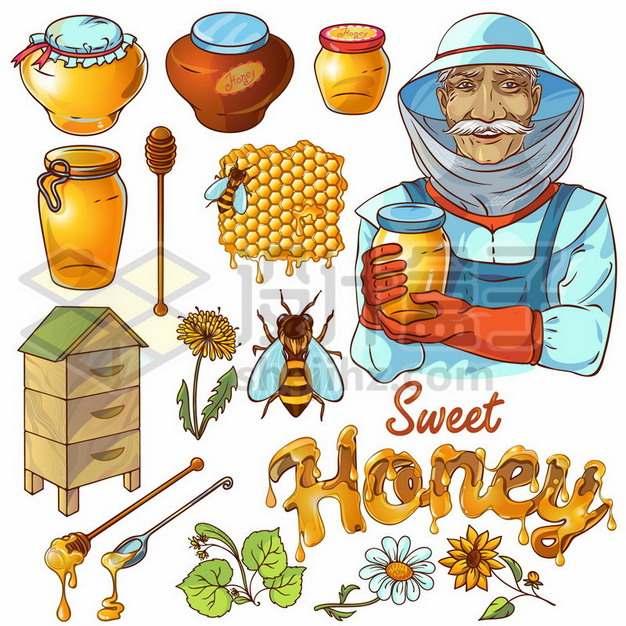 老农民和玻璃罐子中的蜂蜜以及蜜蜂蜂房等776918免抠矢量图片素材