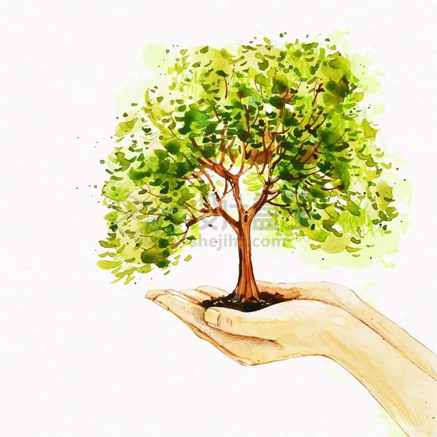 双手捧着的泥土长出一棵大树水彩插画png图片素材