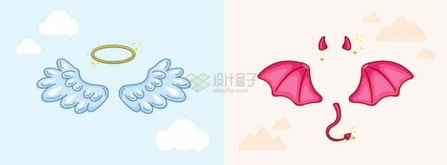 卡通天使的翅膀和光圈以及魔鬼的翅膀和角装饰png图片素材